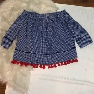 Cremieux Blue Check Off The Shoulder Tassel Top